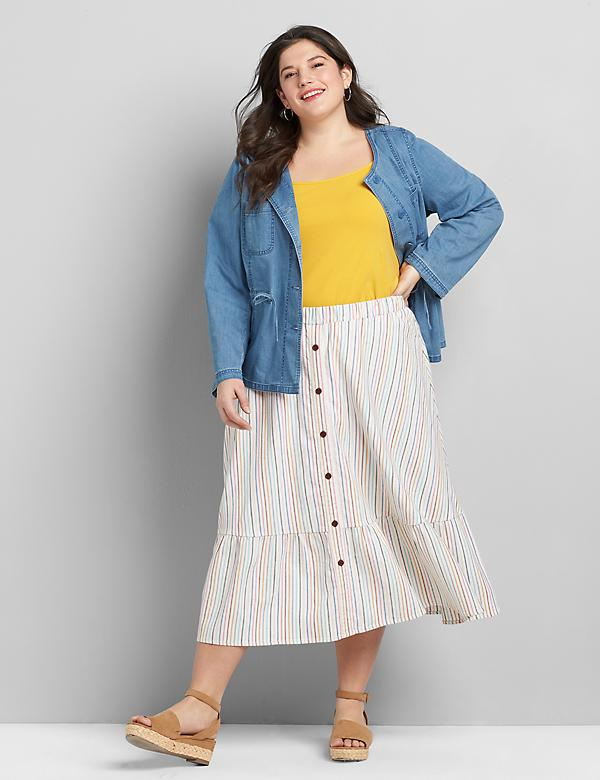 Button-Front Ruffle-Hem Midi Skirt