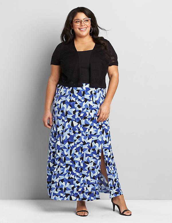 Pull-On Matte Jersey Maxi Skirt With Slit