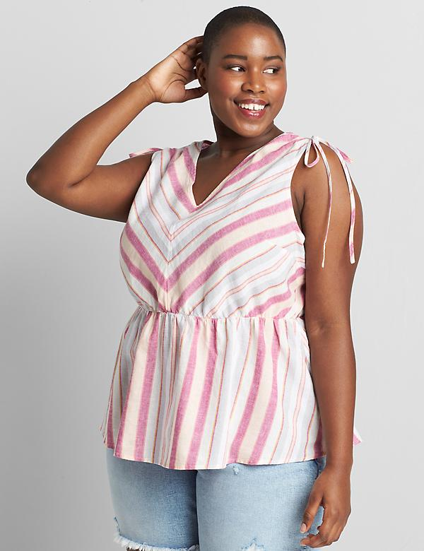 Striped Tie-Shoulder Top