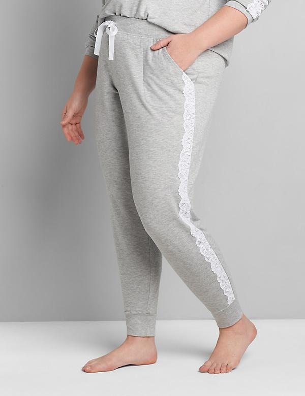 French Terry Lace-Trim Sleep Jogger