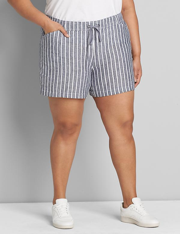 Lane Essentials Pull-On Linen Short - Stripe