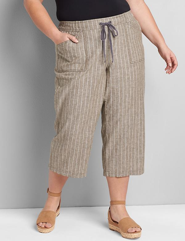 Lane Essentials Pull-On Wide Leg Crop - Striped