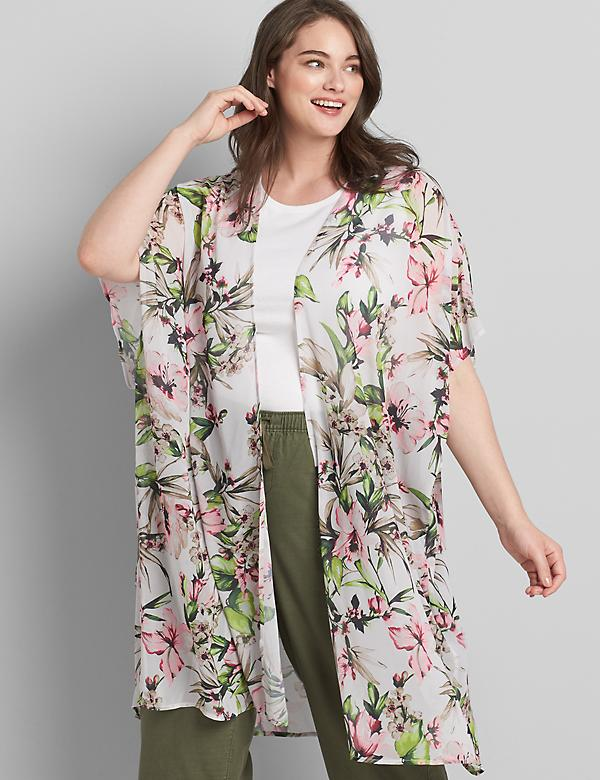 Printed Chiffon Duster Overpiece