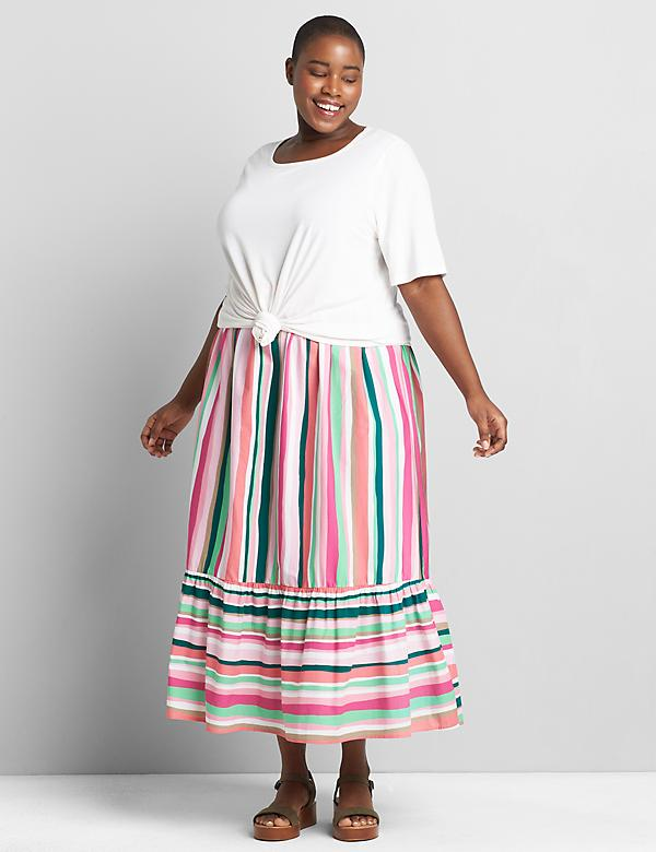 Striped Wide-Ruffle Maxi Skirt