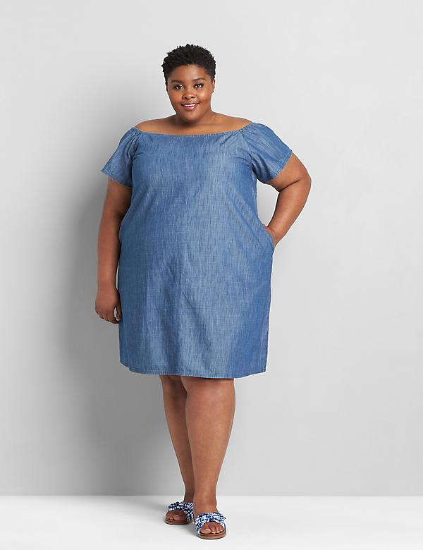 Convertible Chambray Off-The-Shoulder Dress