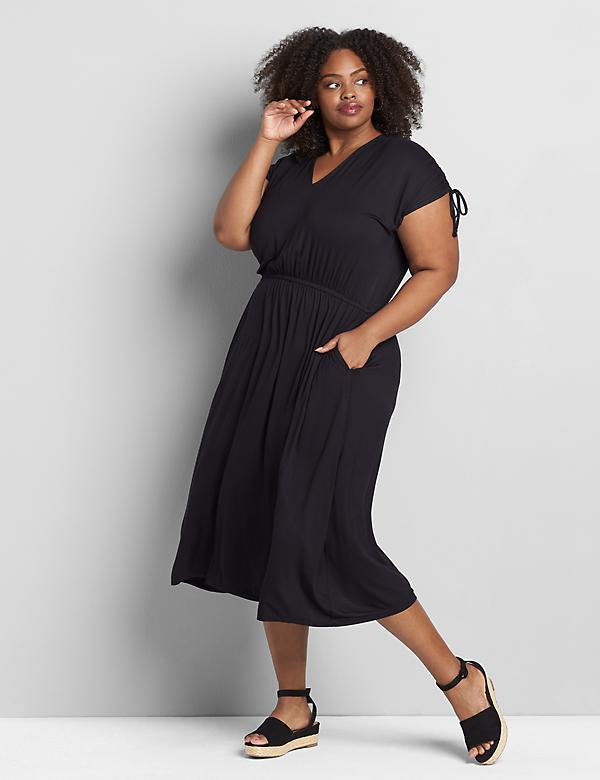 Ruched-Shoulder Midi Dress