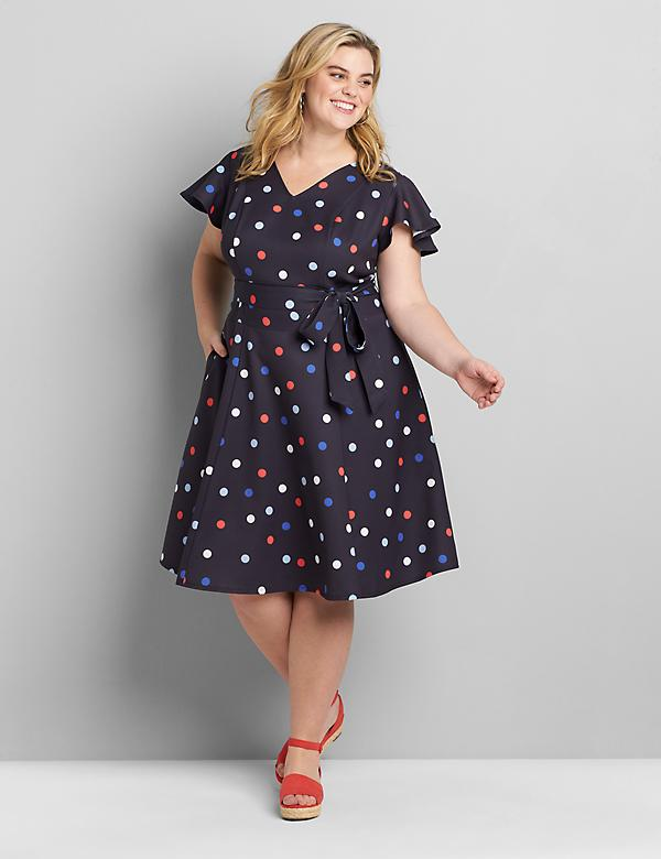 Flutter-Sleeve Belted Lena Dress