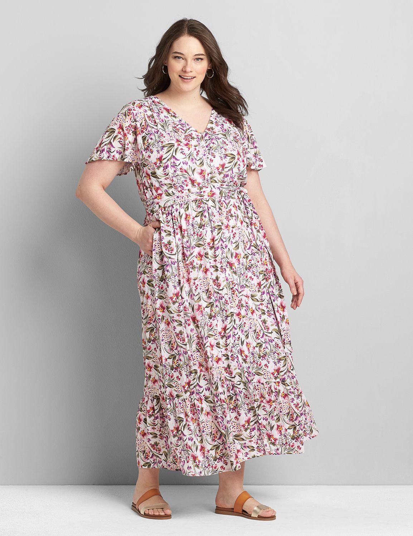 Lane Bryant Women's Flutter-Sleeve Button-Front Maxi Dress 14 Evelyn Floral