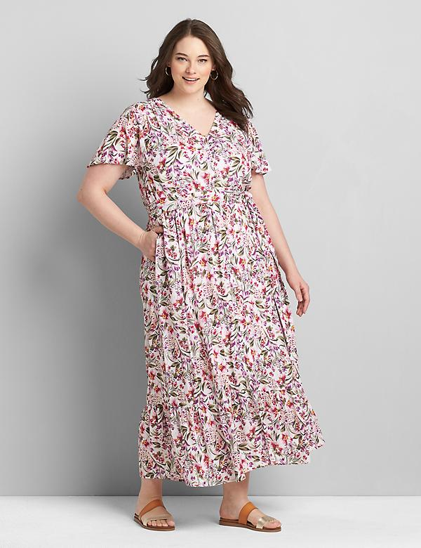 Flutter-Sleeve Button-Front Maxi Dress