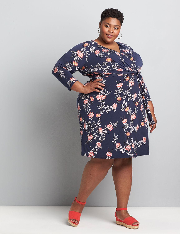 Lane Bryant Women's Printed Faux-Wrap Fit & Flare Dress 34/36 Sophia Floral