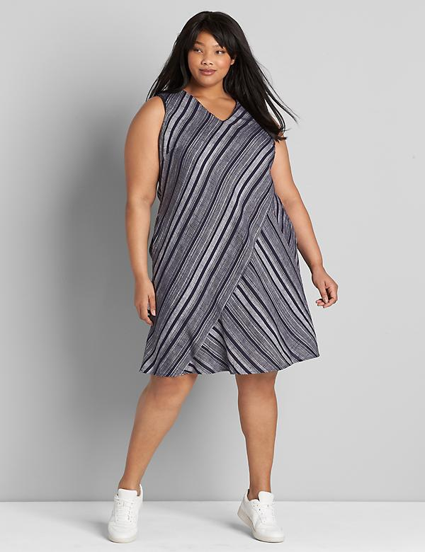 Striped V-Neck Swing Dress