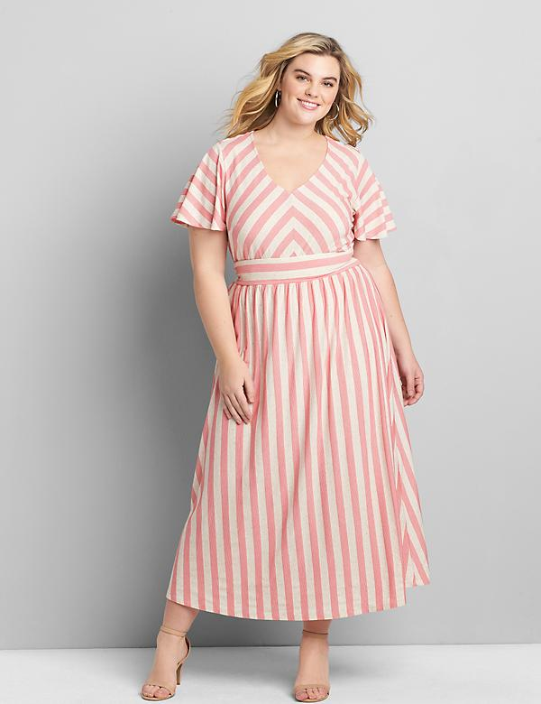 Short-Sleeve Chevron Stripe Maxi Dress