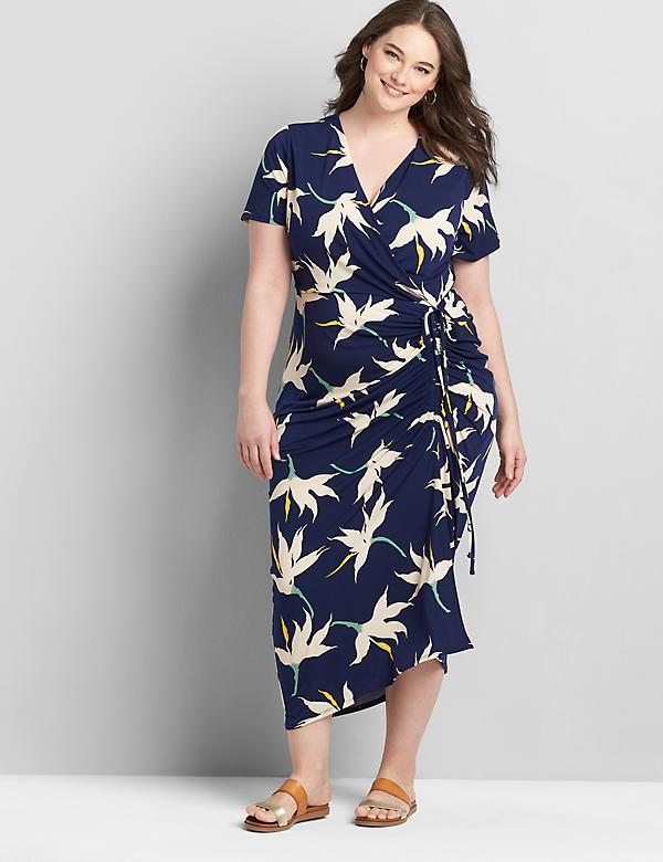 Crossover Side-Drawstring Maxi Dress