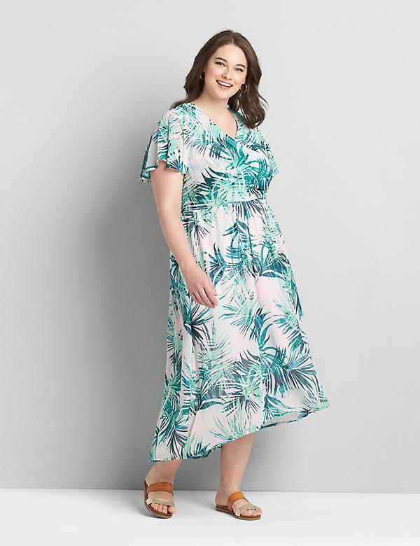 Crossover Flutter-Sleeve High-Low Midi Dress