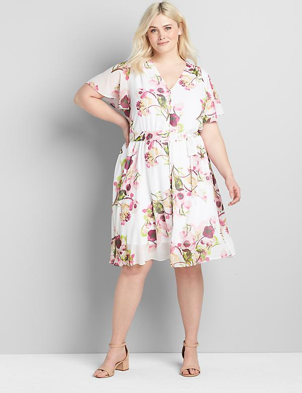 Chiffon Button-Front Fit & Flare Dress