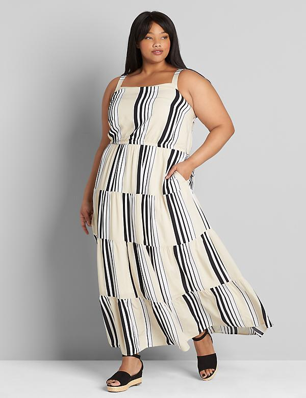 Striped Square-Neck Tiered Maxi Dress