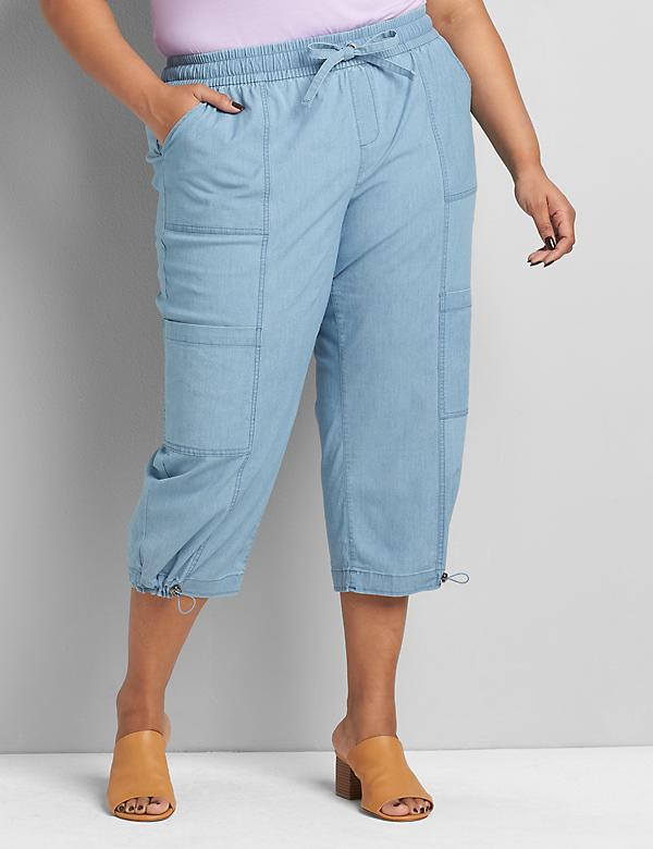 Soft Pull-On Capri - Chambray