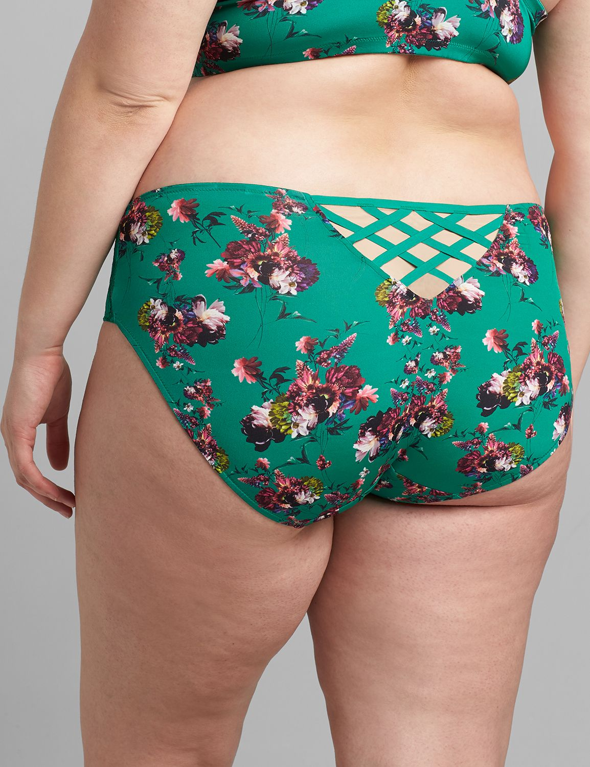 Lane Bryant Women's Printed Strappy-Back Hipster Panty 12 Colorful Blooms