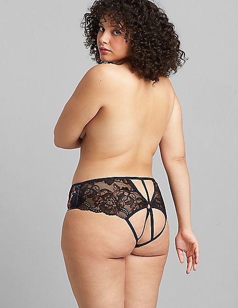 Printed Strappy Open-Back Panty