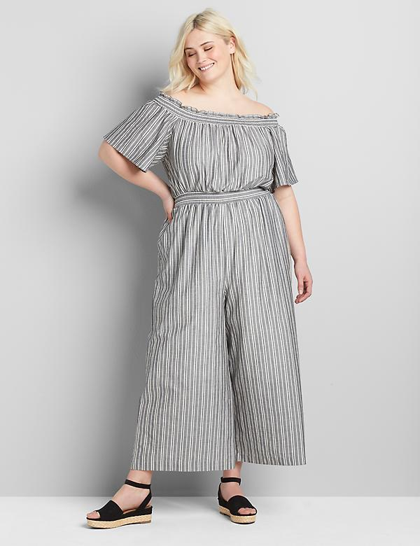 Convertible Off-The-Shoulder Shirred Jumpsuit