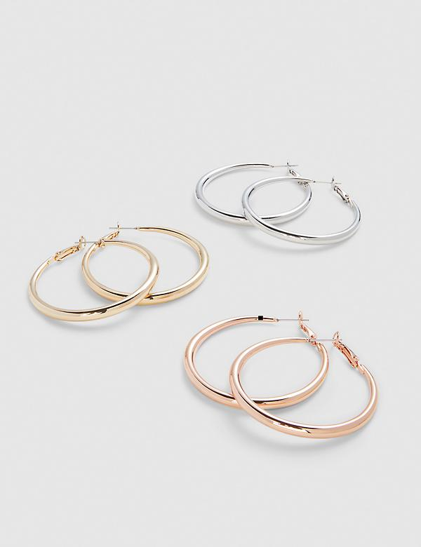 Tri-Tone Hoop Earrings - 3-Pack