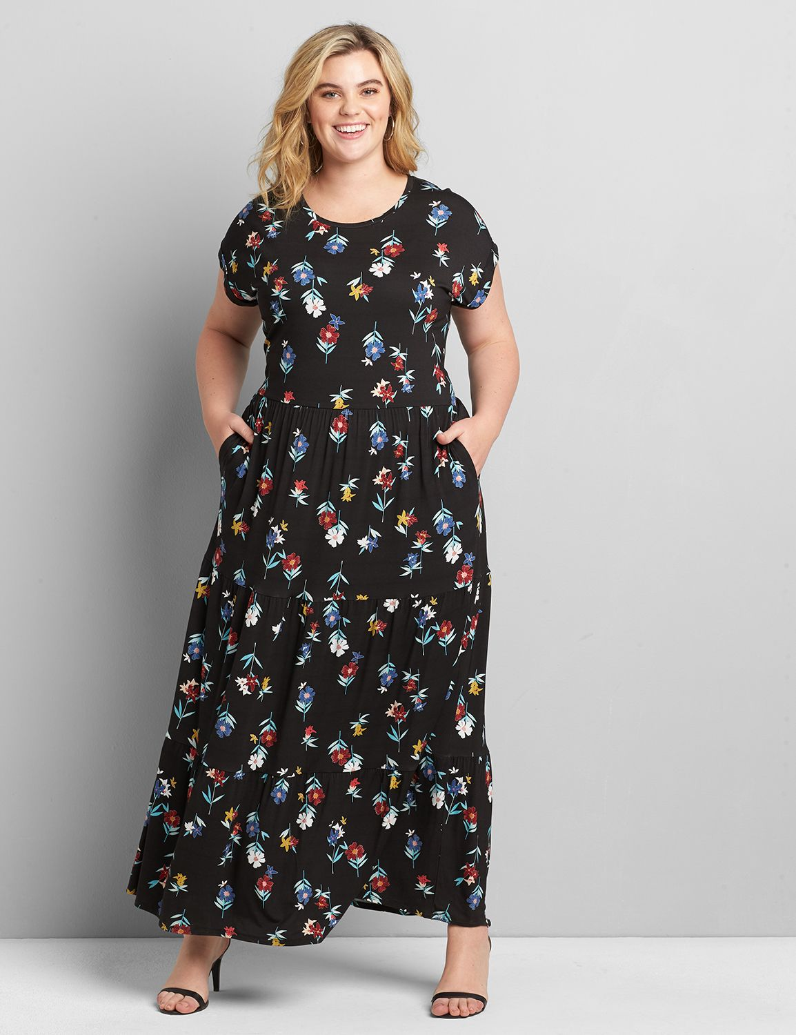 Lane Bryant Women's Tiered Jersey Maxi Dress 22/24P Cape Bay Floral