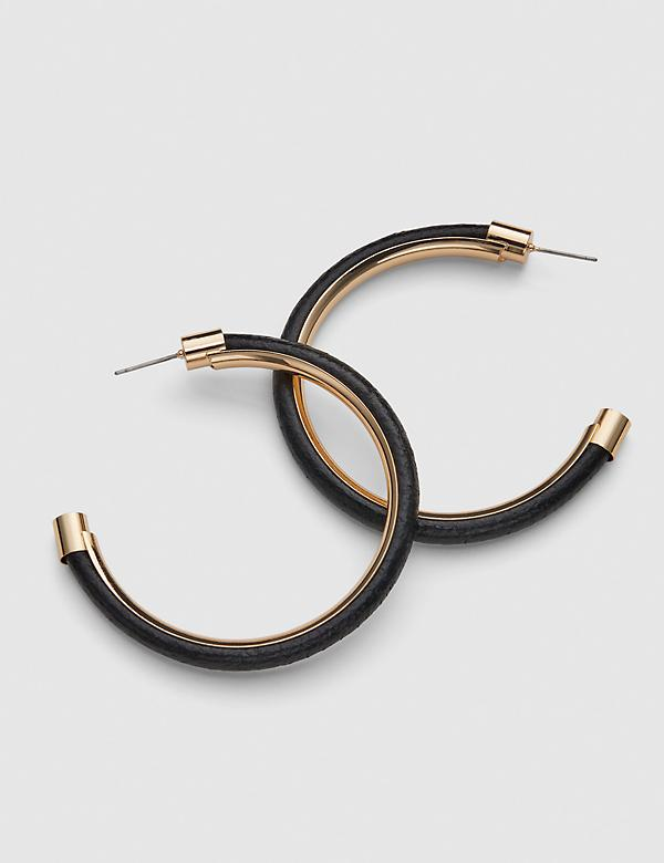 Faux Leather Hoop Earrings - Black