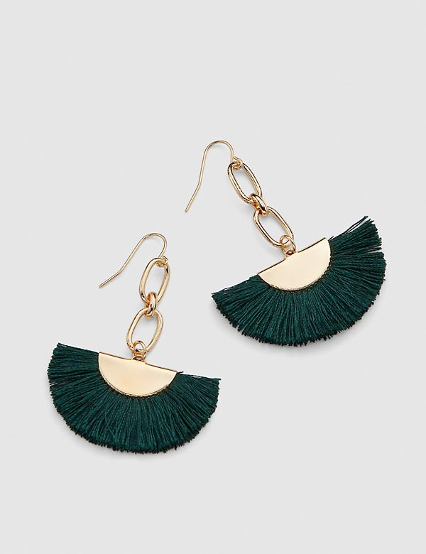 Threaded Fan Drop Earrings - Green