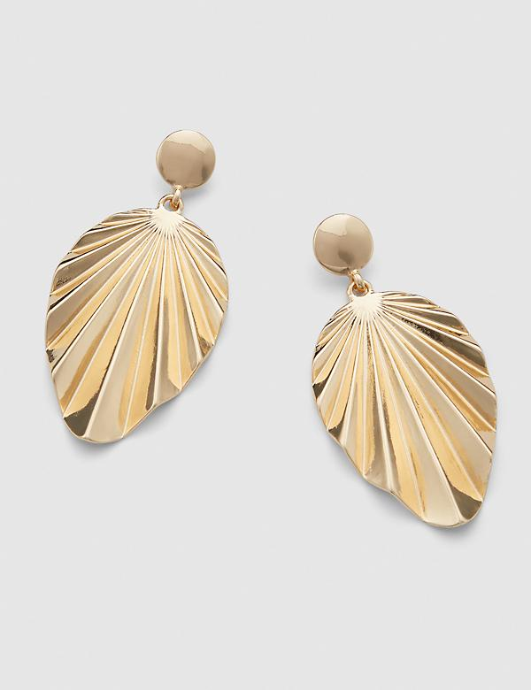 Fan Statement Drop Earrings - Goldtone