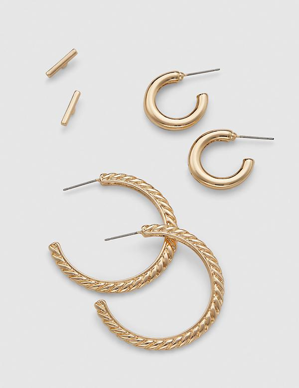 Stud & Textured Hoop Earrings - 3-Pack