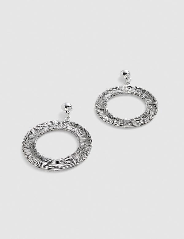 Textured Front-Facing Circle Drop Earrings