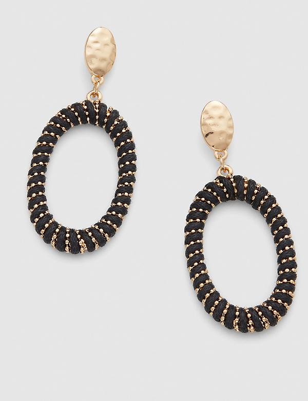 Thread-Wrapped Oval Drop Earrings