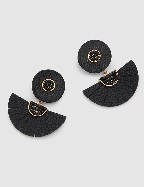 Faux Leather Fan Statement Earrings