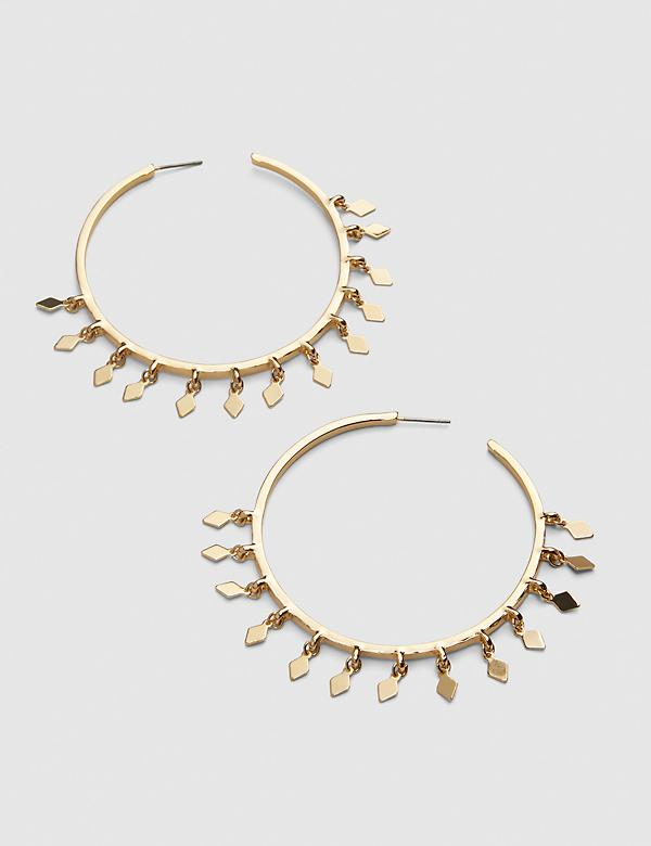 Dangling Geo-Embellished Hoop Earrings