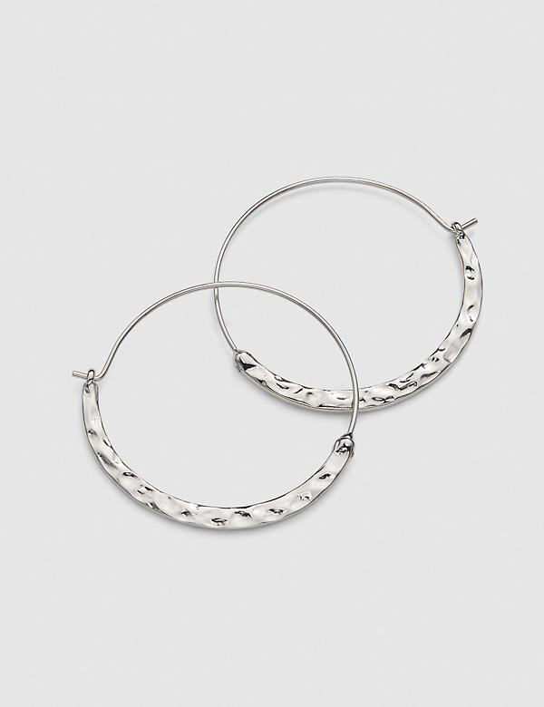 Hammered Hoop Earrings - Silvertone