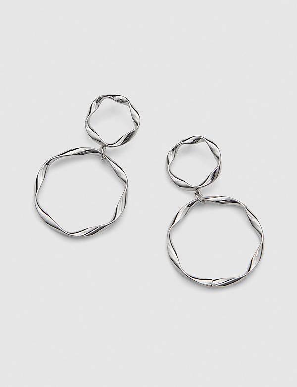 Twist Double-Circle Drop Earrings