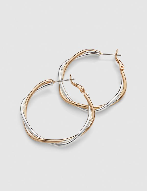 Mixed-Metal Twist Hoop Earring