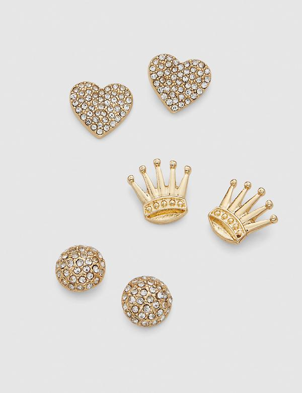 Stud Earrings - 3-Pack - Crown & Heart