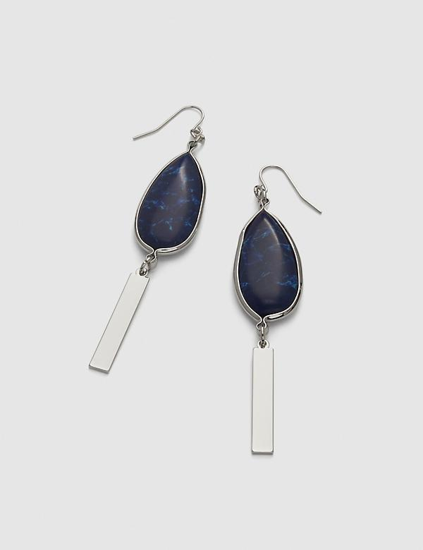 Stone & Bar Drop Earrings - Navy