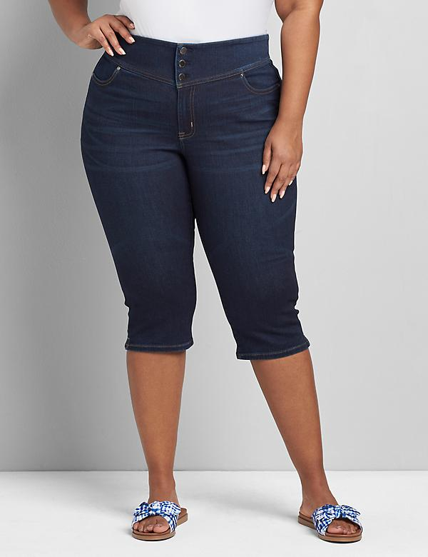 High-Rise 3-Button Pedal Jegging - Dark Wash
