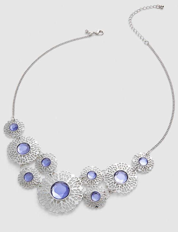 Filigree & Faceted Stone Statement Necklace
