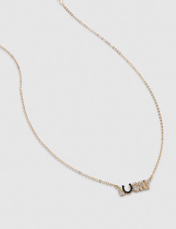 Pave-Embellished Lucky Pendant Chain Necklace