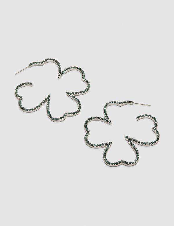 Pave Four-Leaf Clover Hoop Earrings