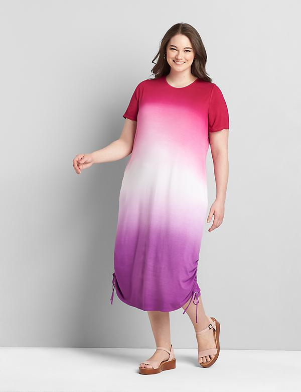 Tie-Dye Ruched-Side Dress
