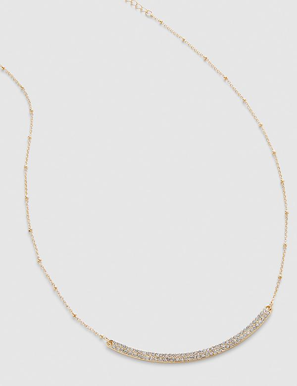 Sparkling Curved Bar Necklace