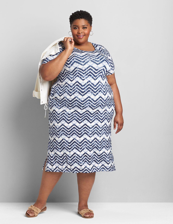 Lane Bryant Women's Scoop-Neck Midi Dress 10/12 Blue/White Chevron Stripes