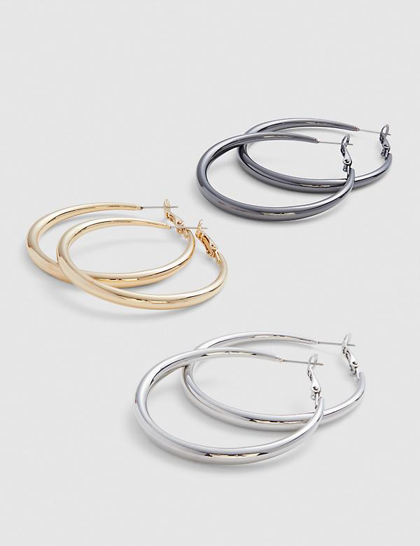 Hoop Earrings - 3-Pack - Tri-Tone