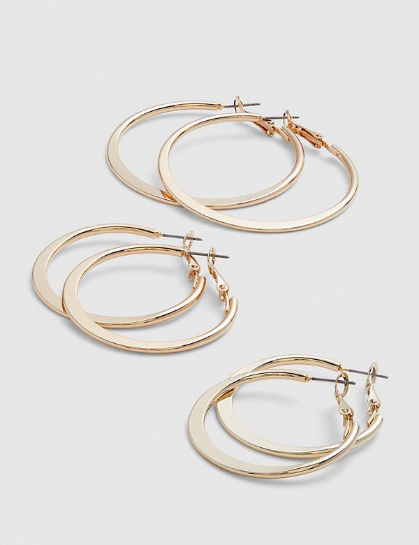 Flat Hoop Earrings 3-Pack