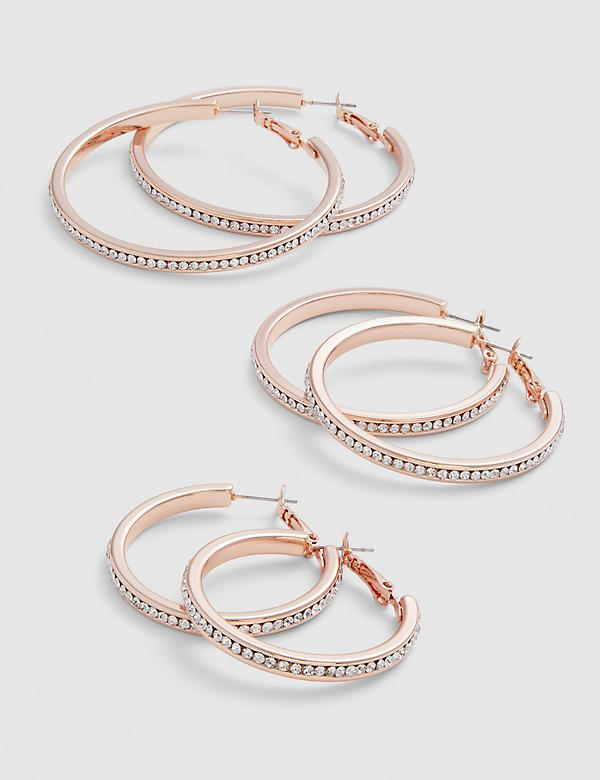Pave Hoop Earrings - 3-Pack