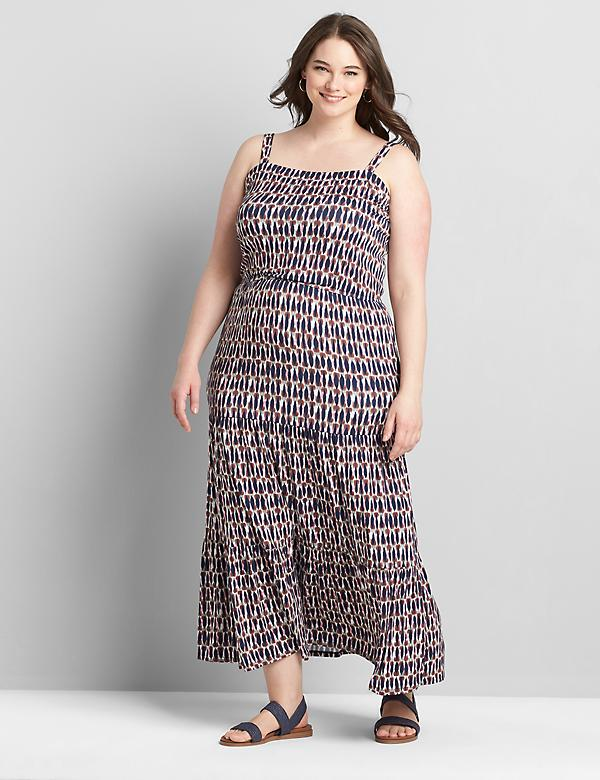 Printed Square-Neck Tiered Maxi Dress
